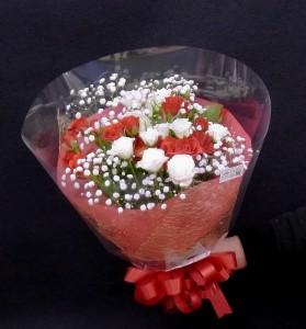 ブーケ風花束 赤と白