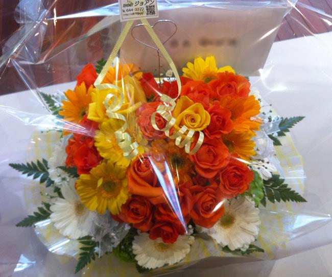 黄色・オレンジ系ハート型アレンジメント