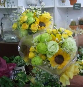 グリーントルコとヒマワリの花束