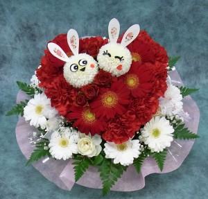 ハート型アレンジメント ウサギちゃん