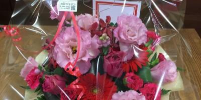 フラワーアレンジメント ピンク赤系